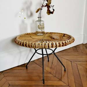 Table basse en rotin et métal vintage