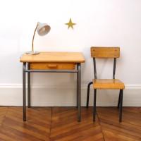 Bureau et chaise d'école années 50