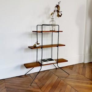 Meuble étagère en métal et bois