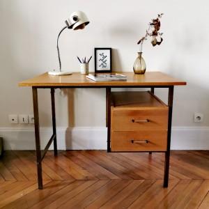 Grand bureau en métal et bois