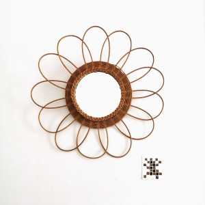 Grand miroir fleur en rotin vintage
