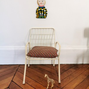 Chaise enfant vintage en métal blanc