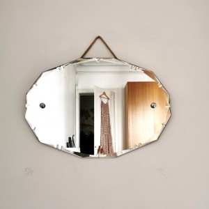 Miroir biseauté ancien octogonal
