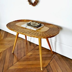 Table vintage bois et rotin 1
