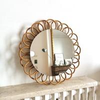 Miroir fleur en rotin