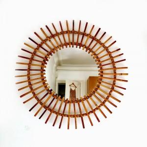 Miroir soleil en rotin grand format