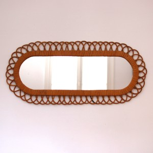 Miroir rotin allongé