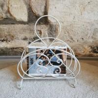 Porte-revues ancien métal blanc