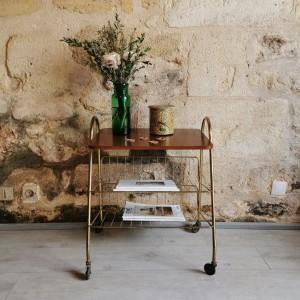 Table d'appoint métal doré et teck