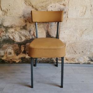 Chaise ancienne en métal et skaï moutarde