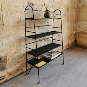 Bibliothèque métal noir et perforé