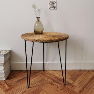 Table ronde vintage en rotin