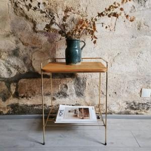 Table d'appoint en métal et bois