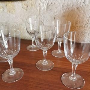 Ensemble de 6 verres en cristal d'Arques