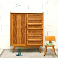 Cupboard wardrobe in rattan and wood