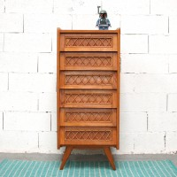 Wood and rattan chiffonier