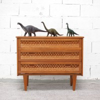 Chest of 3 drawers in wood and rattan