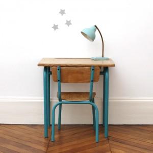 Bureau et chaise années 50 teal