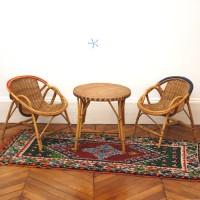 Ensemble table et fauteuils rotin