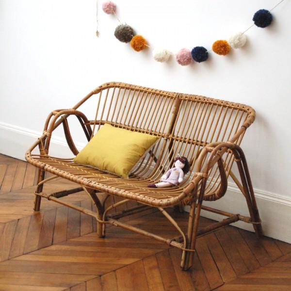 banquette en rotin 2 places. Black Bedroom Furniture Sets. Home Design Ideas