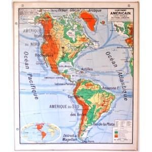 Carte scolaire murale Amérique