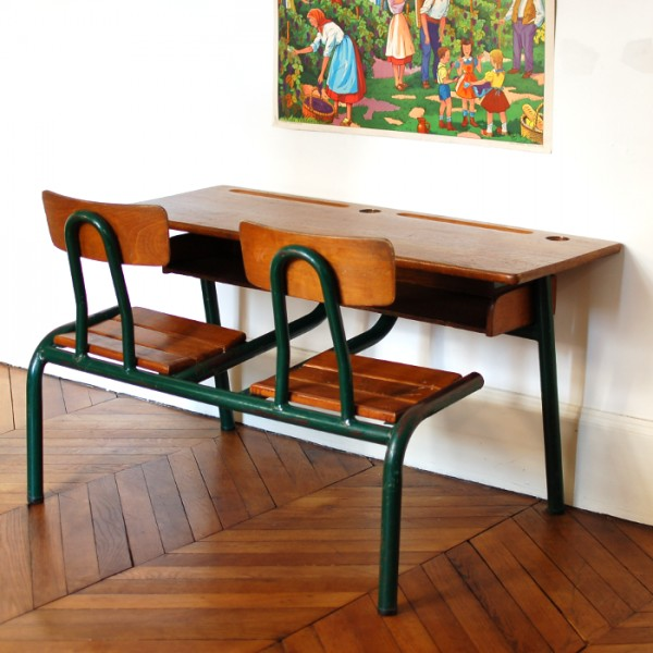 Bureau d 39 colier double - Bureau d ecolier ancien en bois 1 place ...