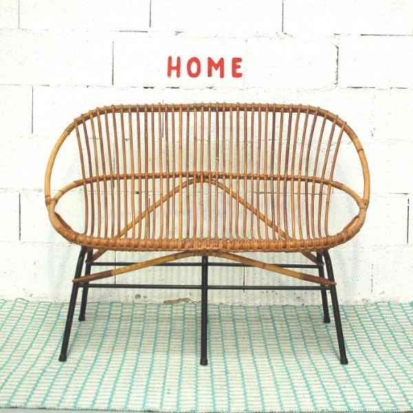 banquette en rotin et m tal chahut bahut. Black Bedroom Furniture Sets. Home Design Ideas