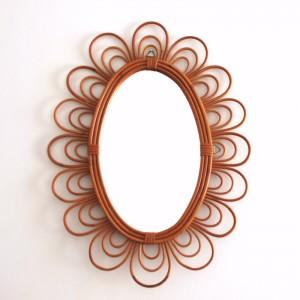 Miroir en rotin fleur