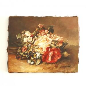 """Petit tableau ancien """"Bouquet de fleurs"""""""