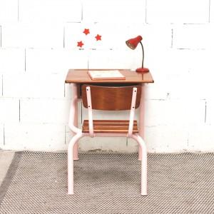 Bureau et chaise d'écolier rose Angie