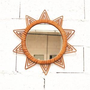 Miroir soleil en rotin