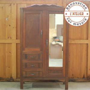 Armoire années 50 penderie étagères tiroirs 1