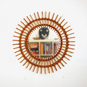 Miroir soleil en rotin vintage 1