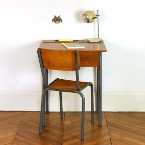 Bureau et chaise d'écolier années 50 2