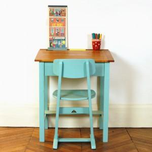 Pupitre turquoise et chaise Casala
