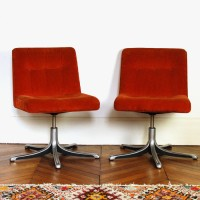 Paire de fauteuils 70's orange
