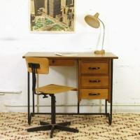 Bureau en bois et métal années 50