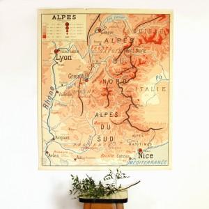 Carte murale Alpes - Pyrénées 1