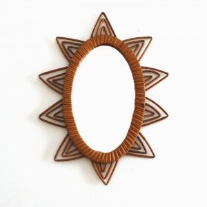Miroir en rotin ovale soleil 1