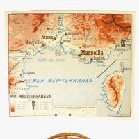 Carte murale midi Méditerranéen et Bassin Aquitain
