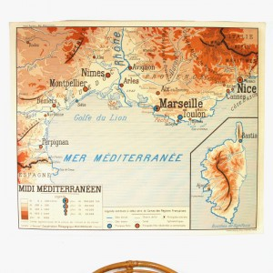Carte murale midi Méditerranéen et Bassin Aquitain 1
