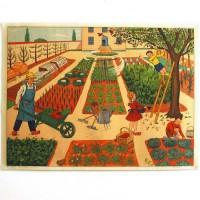 Affiche scolaire L'arrêt de bus - le jardin au printemps