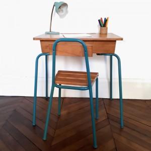 Bureau et chaise années 50 Teal 1