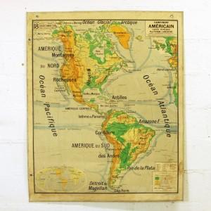 Carte scolaire murale continent Américain 1