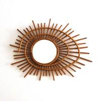 Grand miroir en rotin spirale