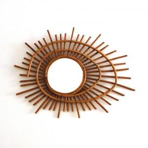 Grand miroir en rotin spirale 1