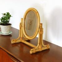 Miroir en rotin sur pied