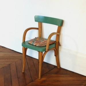 Petit fauteuil Baumann vert olive 1