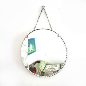 Miroir ancien rond biseauté 1