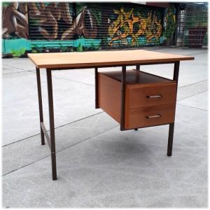 Bureau métal et bois années 60 1